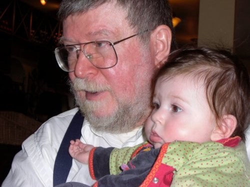 Ye Olde Editor with Sunburn and Granddaughter Number One